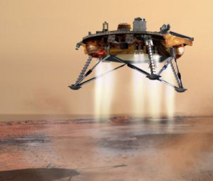 The Phoenix lander alighting on the surface of Mars